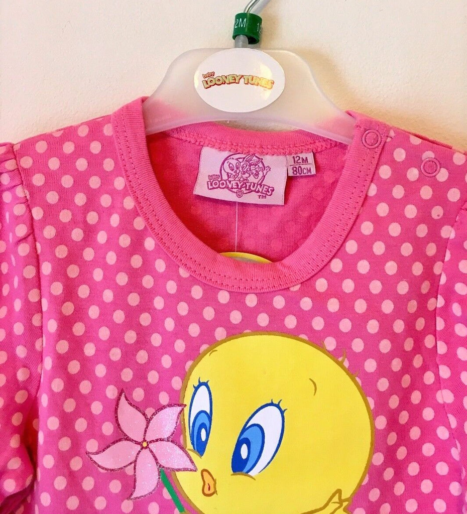 New Girls Looney Tunes Baby Tweety Long Sleeved Vest - Sizes 18 & 24 Months