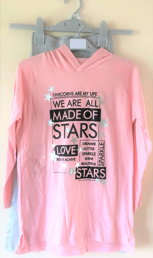"New Girls Unicorn""Made of Stars"" Hood & Lounge Pants Pyjamas Pink Grey -Exstore Matalan -  5-12Y"
