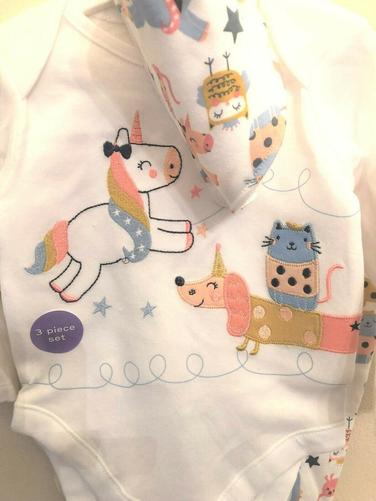 New Baby Girl 3 Pc Set Vest Bottoms/Bib Unicorn Cats & Dogs - Exstore Nutmeg 0 - 6 M