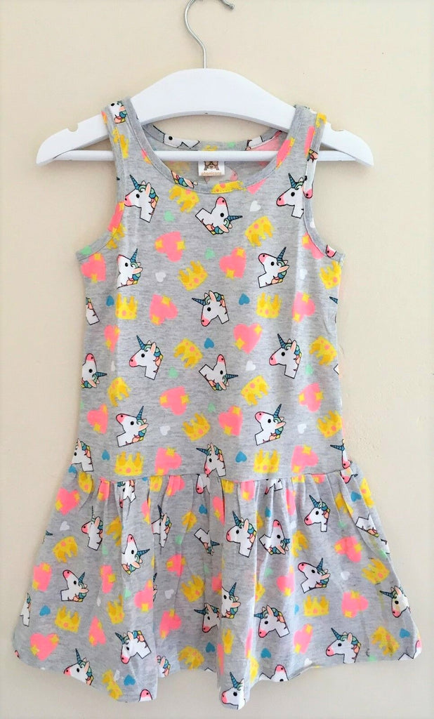 New Baby Girls Unicorn Dress Marl Grey Bagged - Exstore Phonicons - Age 12/24 Months