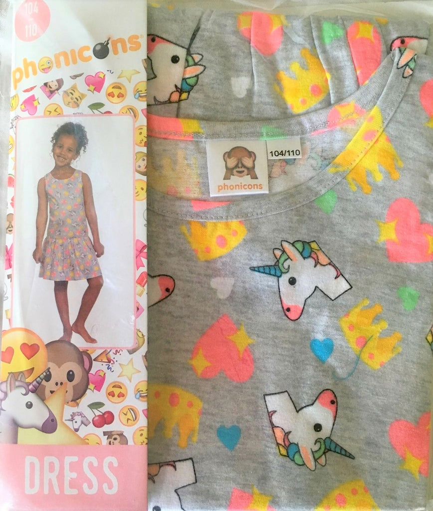 New Baby Girls Unicorn Dress Marl Grey Bagged - Exstore Phonicons - Ages  2-4 Years