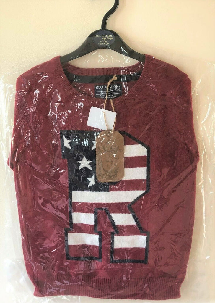 New Boys US Flag R Knitted Jumper Burgundy - Exstore Soul & Glory - Ages 3-8Y