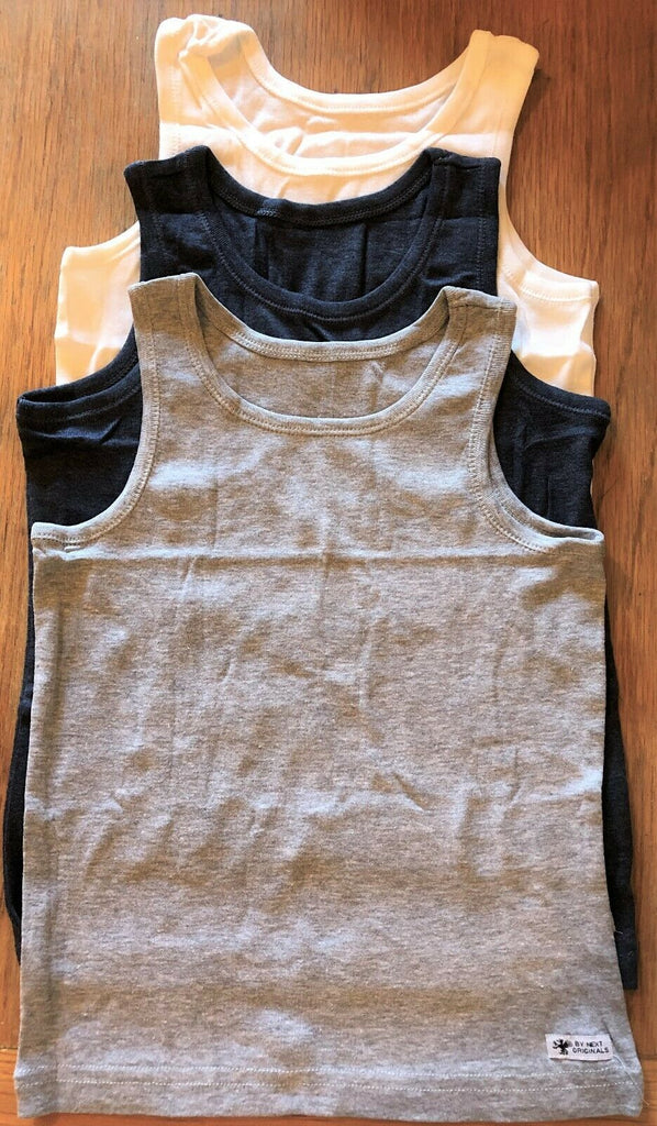 New Boys Next Originals 3 Pack Sleeveless Vests -  Exstore Sealed Pack - 100% Cotton Sizes 2-10 Y
