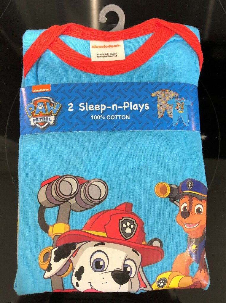 New Baby Boys Paw Patrol 2 Pc Set 100% Cotton Babygros Sleepsuit Ages 0-6 Months