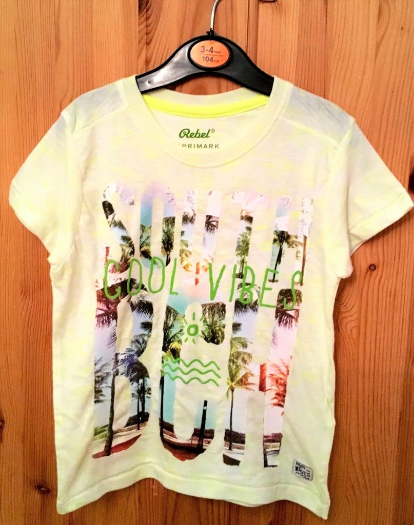 New  Unisex Yellow Tshirt 'South Beach Cool Vibes' - Exstore Rebel Primark - Age 3/4 Yrs