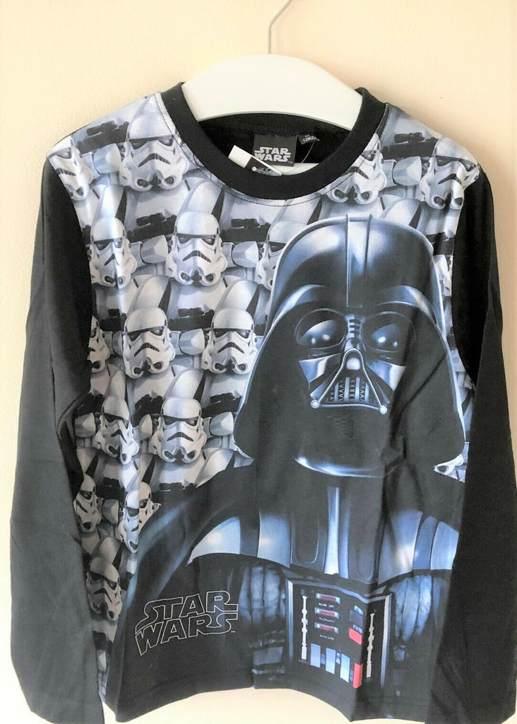 New Boys Disney Star Wars Darth Vader L/S Top Charcoal Black Exstore - Age 10 Y