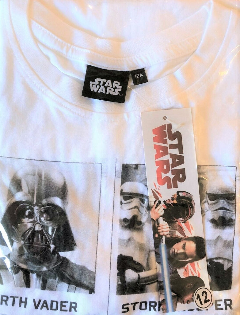 New Disney Star Wars Boys Tshirt 4 Characters White - Official Exstore - 100% Cotton - Age 7-12 Yrs