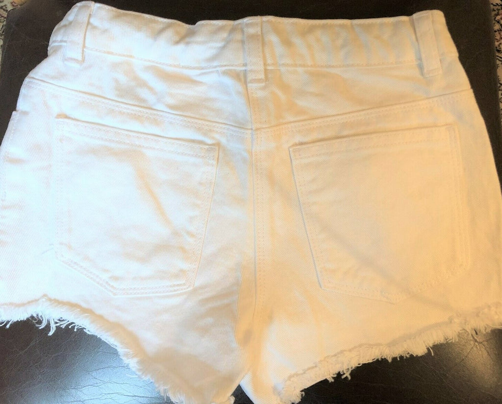 New Exstore Next Girls White Frayed Denim Shorts Adjustable Waist Ages 6 Yrs