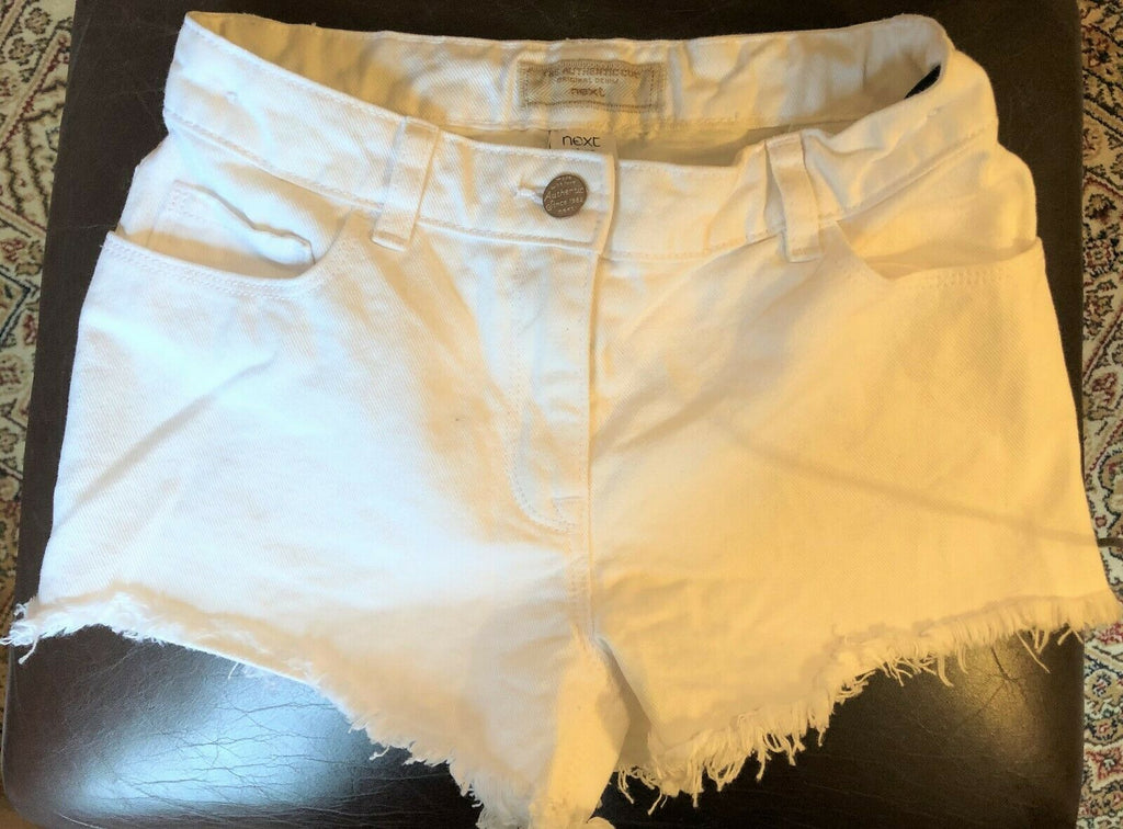 New Exstore Next Girls White Frayed Denim Shorts Adjustable Waist Ages 6 7 8 10 Yrs