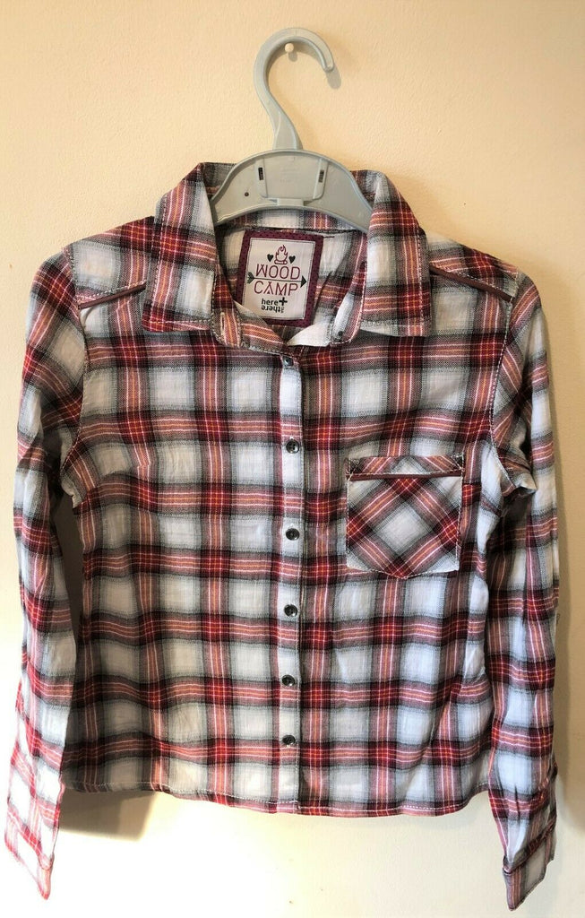 "New Girls Checked Lumberjack Shirt - Exstore Wood Camp ""Here + There"" - 100% Cotton - Ages 5-6 Yrs"