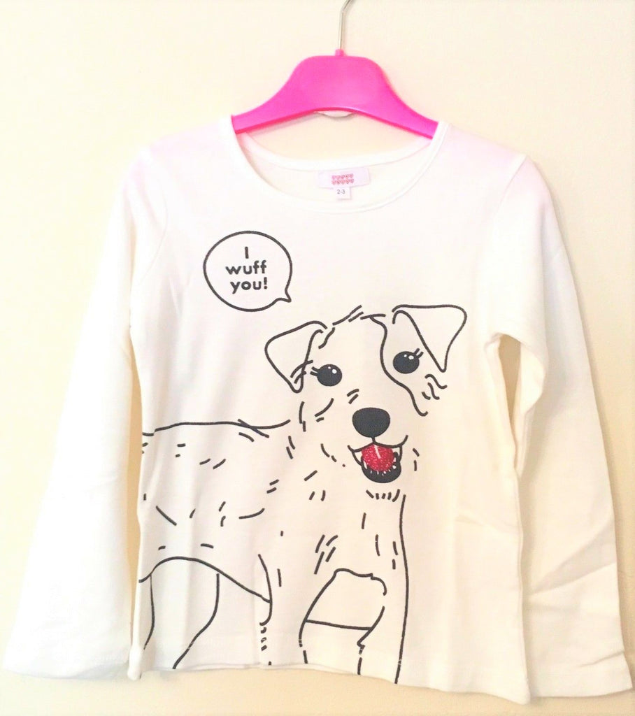 New Girls Glitter Dog Top -  'I Wuff You!' - Long Sleeved - Exstore Sugar Squad -  Ages 3-6 Yrs
