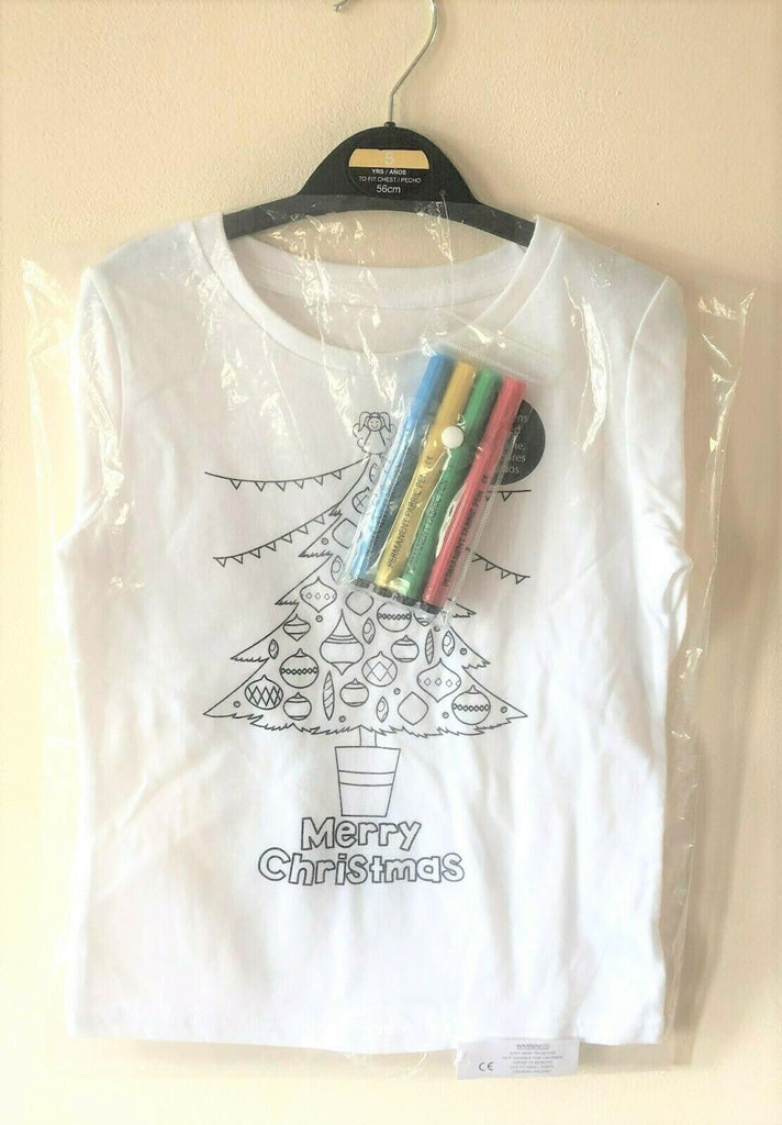 New Kids Colour Me In Christmas Top Christmas Tree - Exstore Dunnes - Fabric Pens Ages 3-5 Years