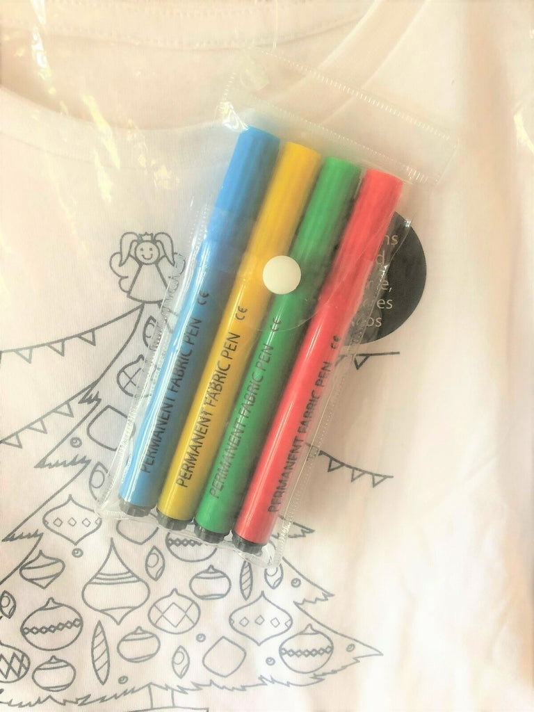 New Kids Colour Me In Christmas Top Christmas Tree - Exstore Dunnes - Fabric Pens Ages 4-10 Years