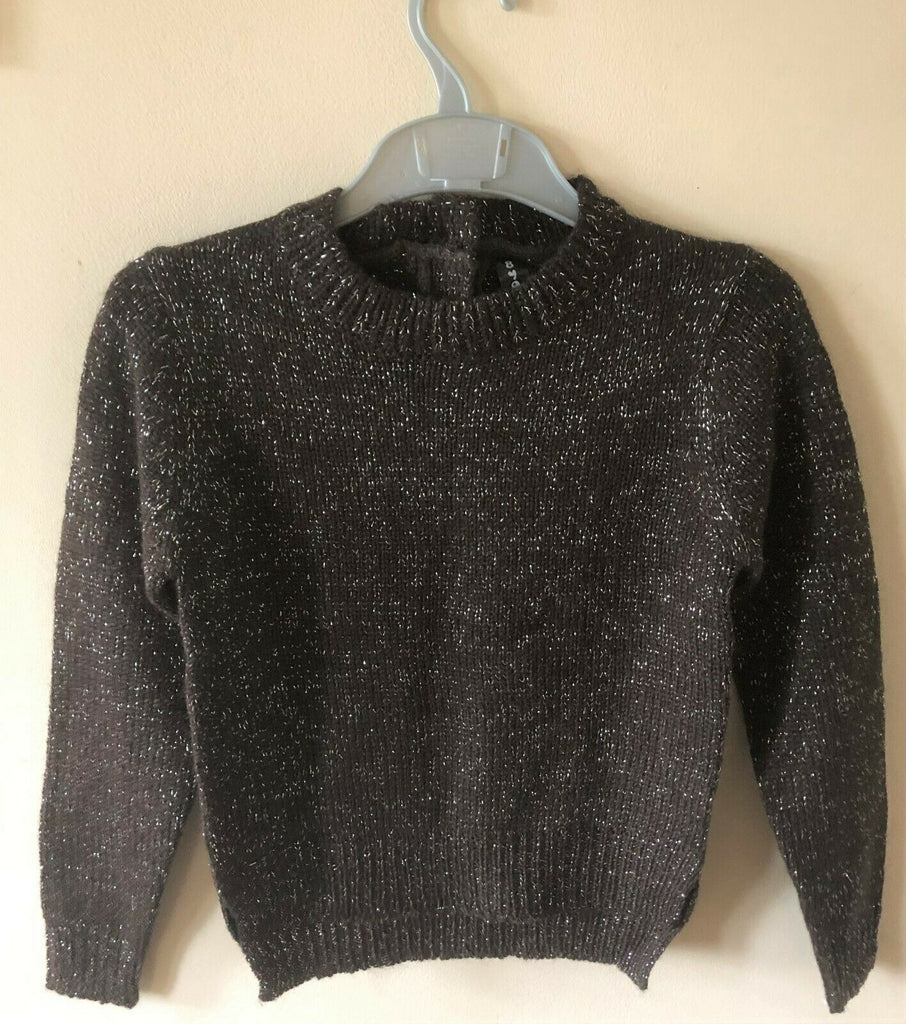 New Girls Brown Silver Sparkle Jumper - Exstore Yamboo - Sizes 5-6 & 6-7 Years