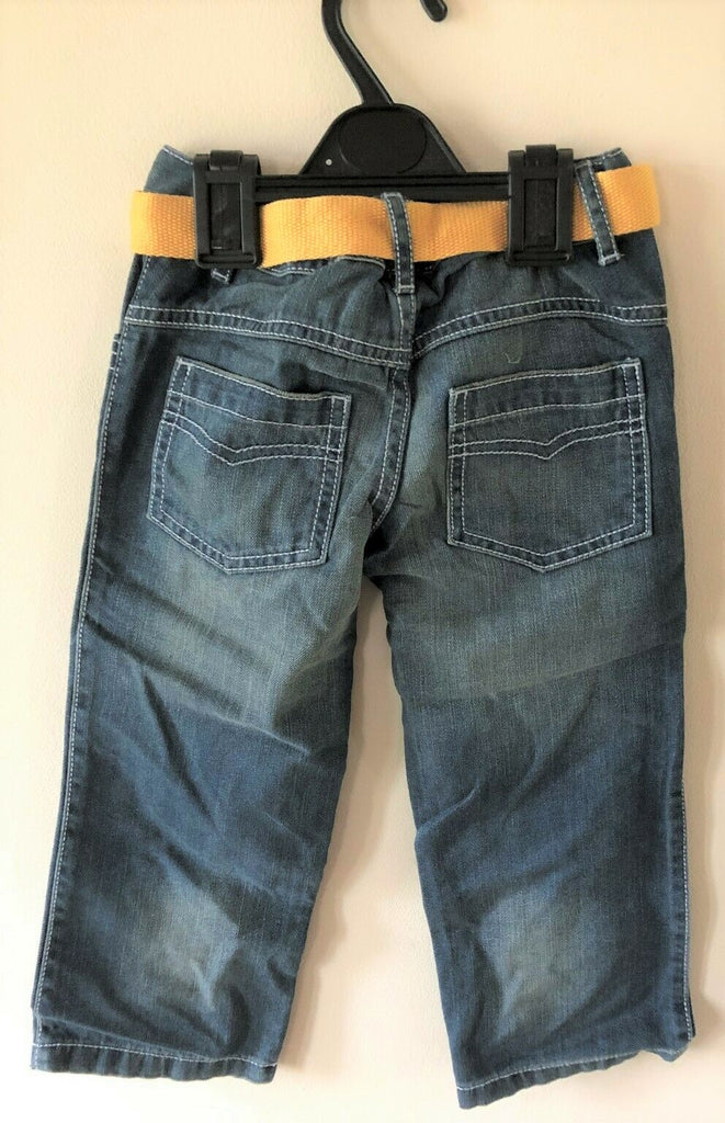 New Boys Faded Blue Jeans and Yellow Belt 100% Cotton - Exstore M&S - Ages 12-24M