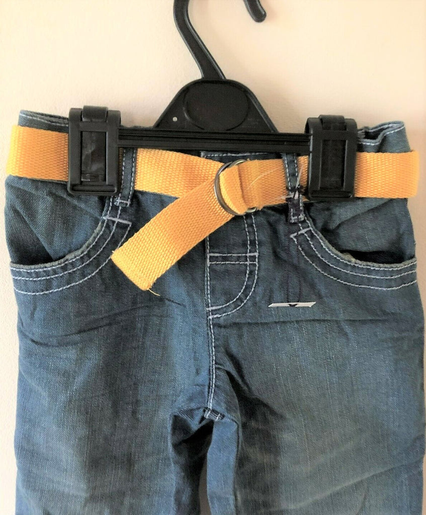 New Boys Faded Blue Jeans and Yellow Belt 100% Cotton - Exstore M&S - Ages 2-6 Years