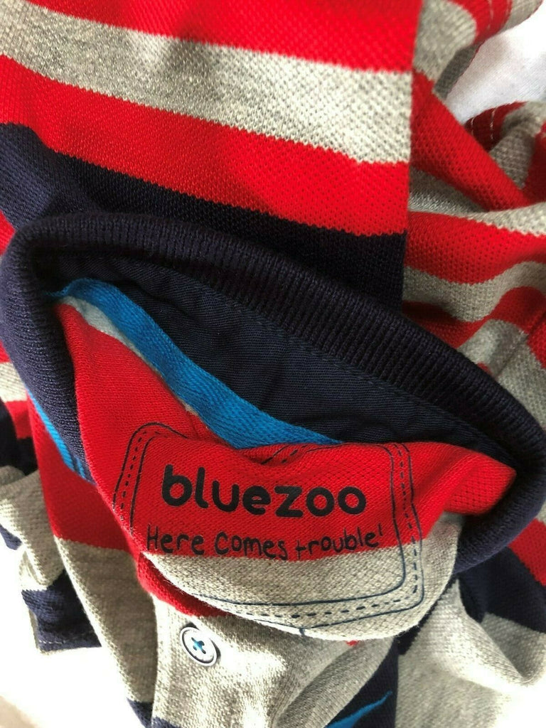 "New Boys Designer L/S Polo Top - Exstore ""Blue Zoo"" - Red Grey Blue Stripe - 2-6 Yrs"