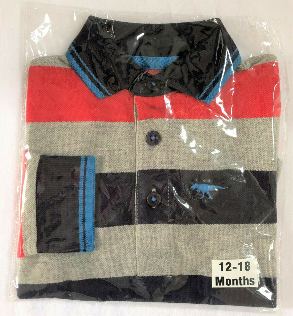 "New Boys Designer L/S Polo Top - Exstore ""Blue Zoo"" - Red Grey Blue - Ages 12-24M"