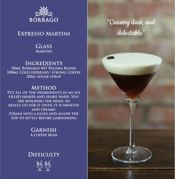 Borrago expresso martini non-alcoholic cocktail mocktail