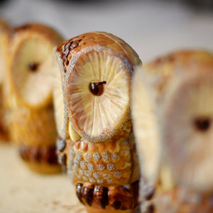 MILK AND WHITE CHOCOLATE HAND PAINTED OWL FIGURINE