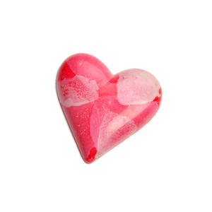 RED PATTERNED SOLID MILK CHOCOLATE HEART
