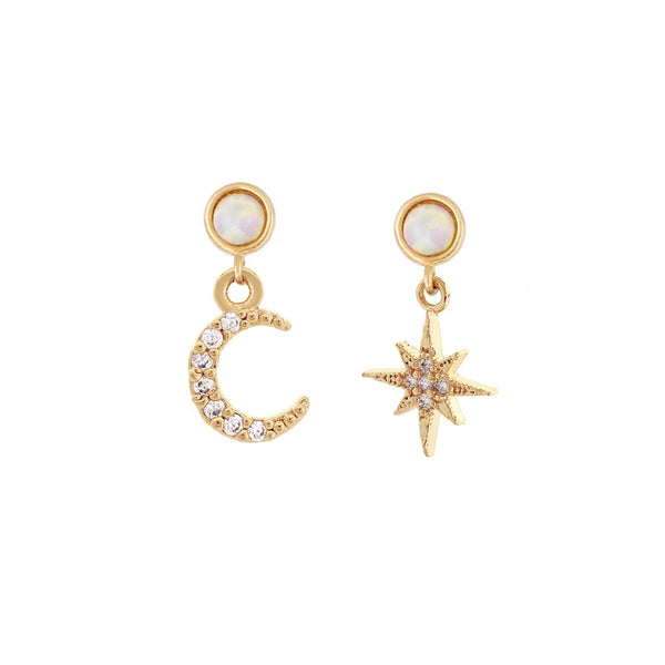 Moon and Star Opal earring