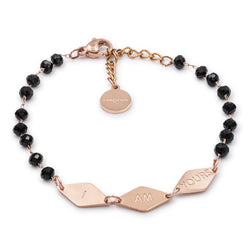 'I AM YOURS' black pearls bracelet