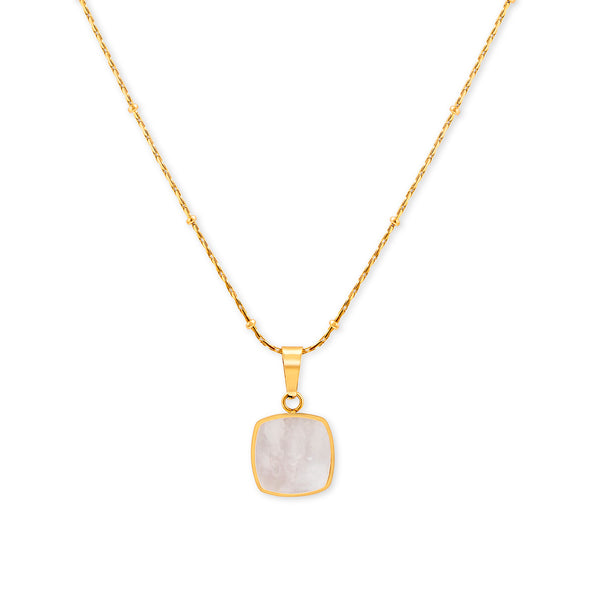 White shell geometric square necklace