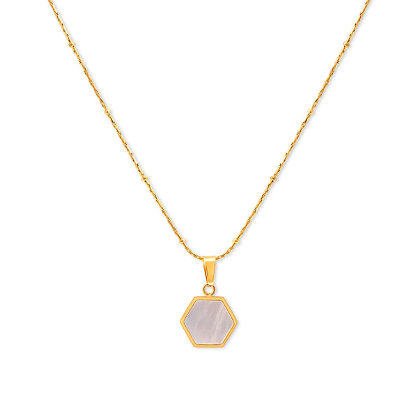 White shell geometric hexagon necklace