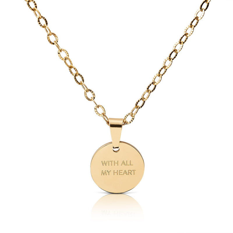 'WITH ALL MY HEART' circle necklace