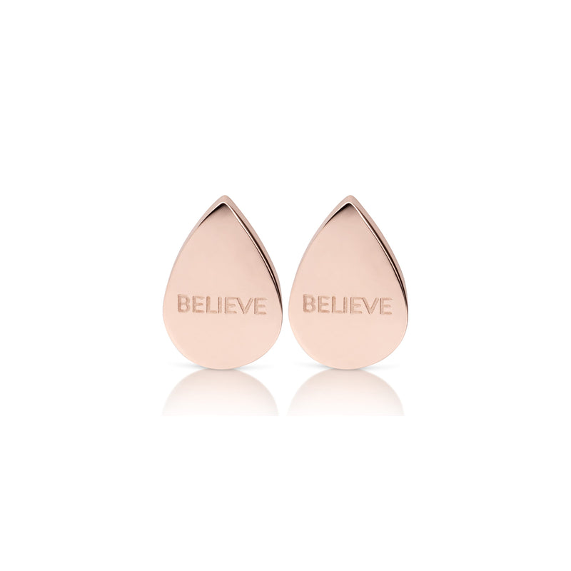 'BELIEVE' drop earrings roségold