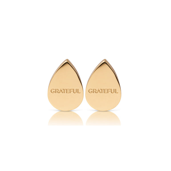 'GRATEFUL' drop earrings gold