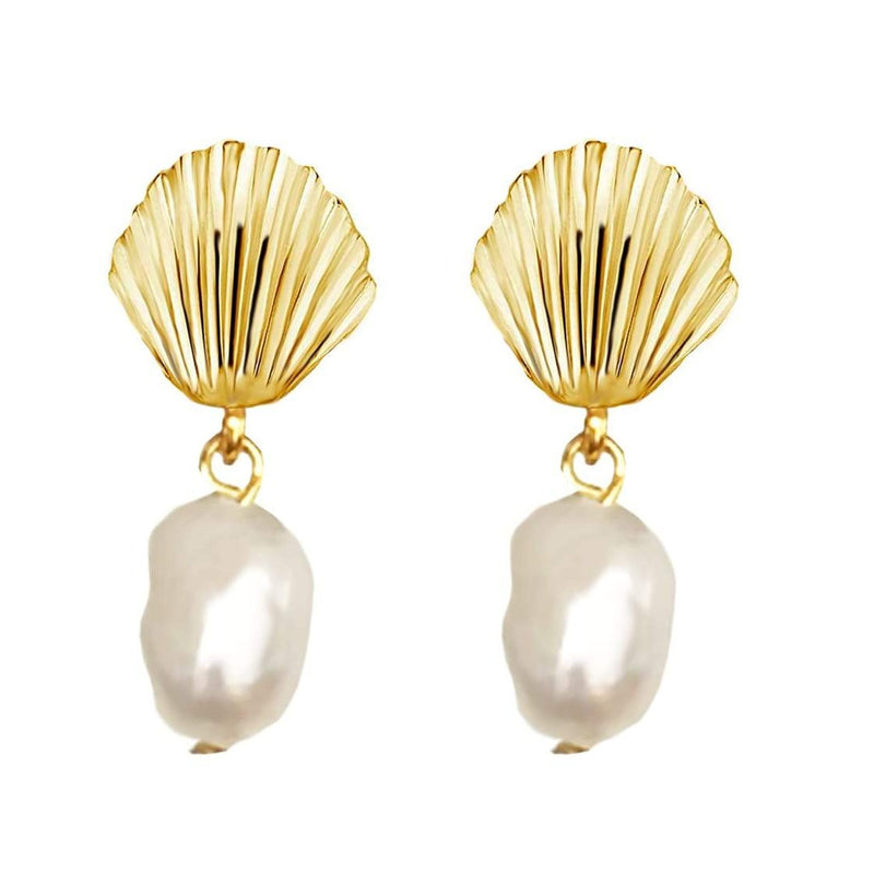 Shell Freshwater Pearl Drop Earrings
