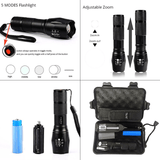 10000 Lumens 5 Modes LED Zoomable Waterproof Tactical Flashlight