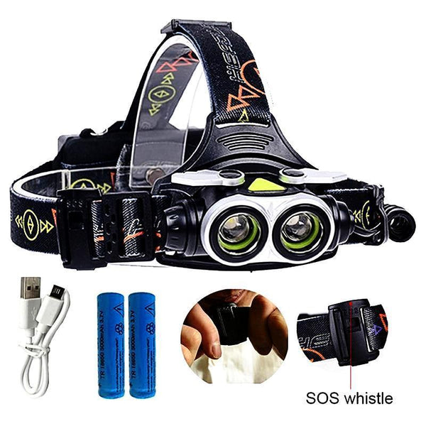 7000LM LED Headlamp With SOS Whistle