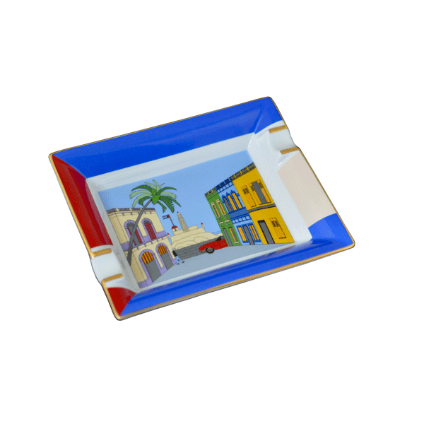 "Elie Bleu Porcelain Ashtray ""Casa Cubana"""