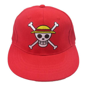 Boutique One Piece Casquette Casquette Rouge One Piece Jolly Roger Luffy