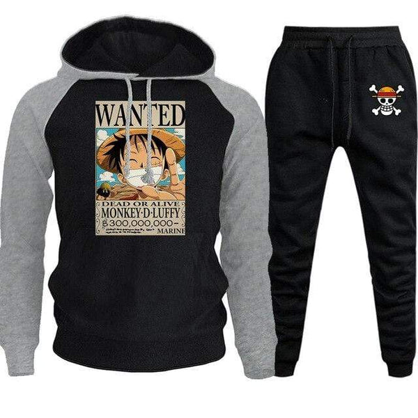 Boutique One Piece Ensemble Gris Noir / M Ensemble One Piece Avis De Recherche Luffy