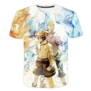 Boutique One Piece T-shirt XXS T-Shirt One Piece Marco et Ace au Poing Ardent