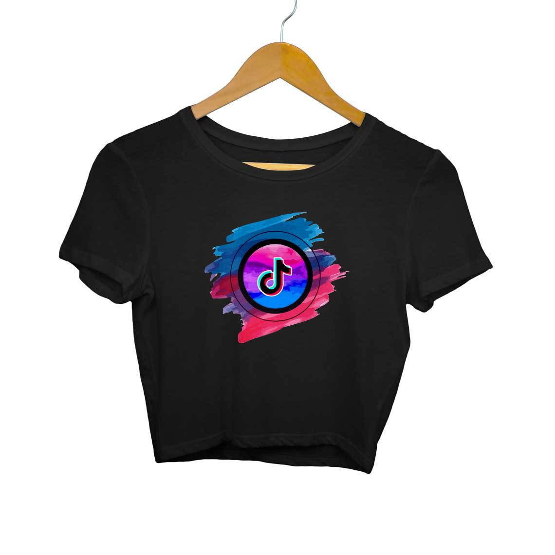 Colorful Tik Tok Logo Crop Tops