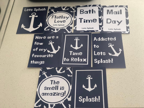 Custom Lets Splash Flat lay cards