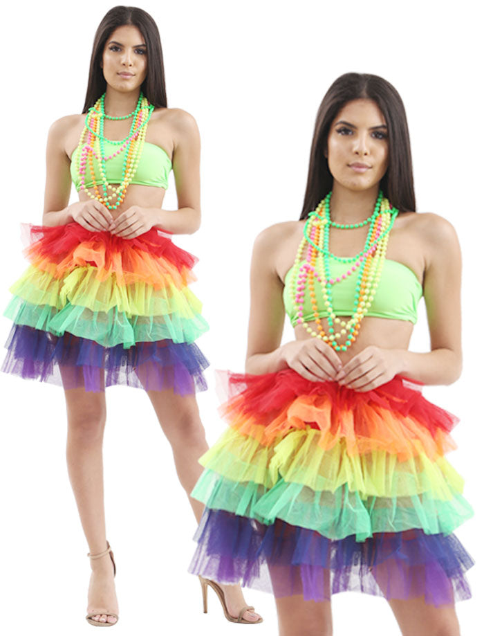 Ladies 6 Layer Rainbow Tutu Skirt Gay Pride Fancy Dress