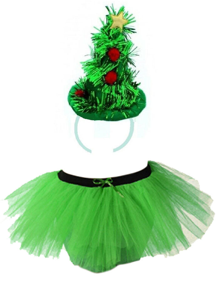 Christmas Tree Tutu Costume Set Ladies Girls Santa Party Fancy Dress