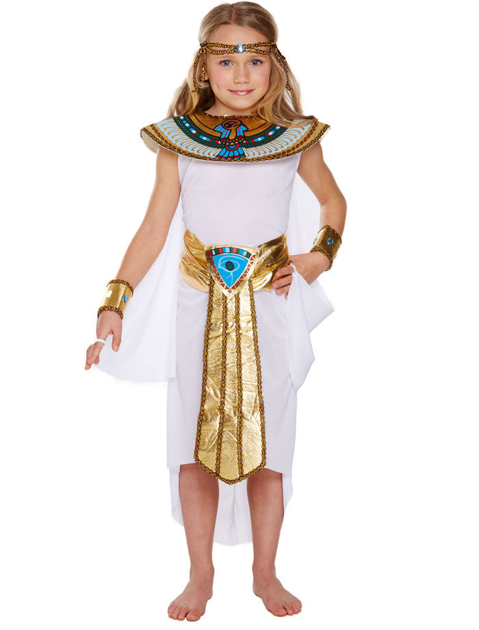Girls Egyptian Queen Costume Egypt Childs Cleopatra Fancy Dress Outfit