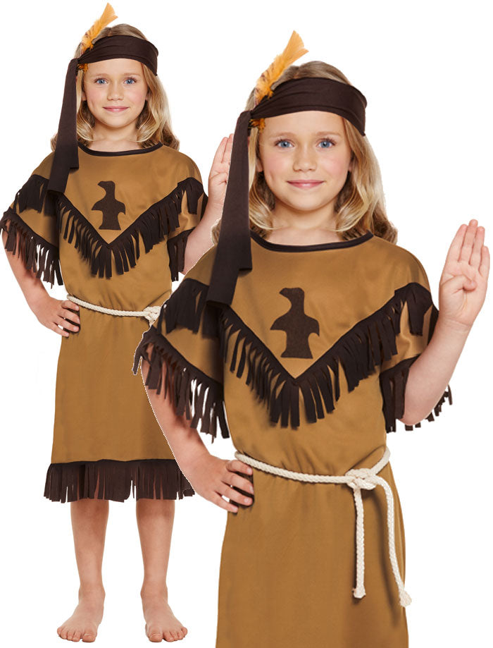 Girls Native Indiana Costume Child American Wild West Western Fancy Dress