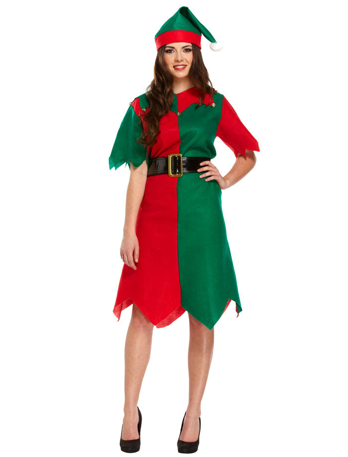 ADULT ELF COSTUME LADIES CHRISTMAS FANCY DRESS XMAS PARTY OUTFIT