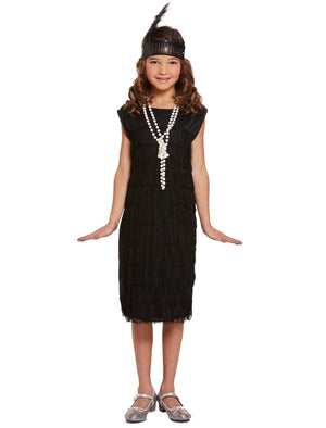 Girls Flapper Dress And Headpiece 1920s Child Charleston Fancy Dress Costume