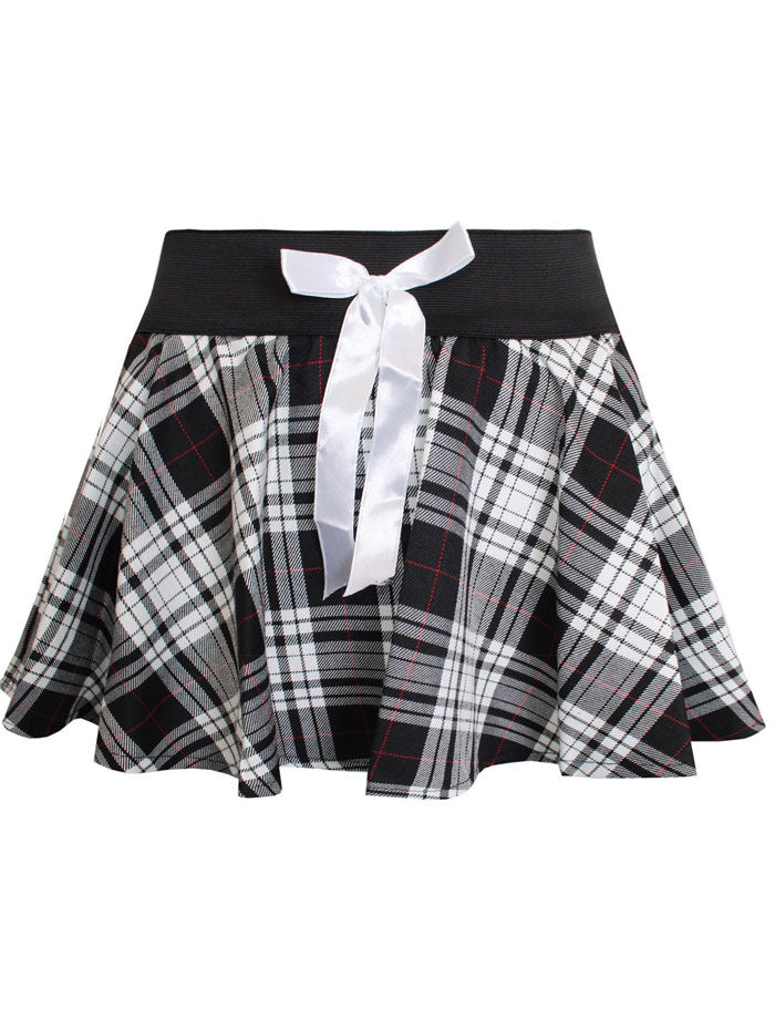 Ladies Womens Grey Circular Tartan Mini Skirt Check Bow Dance Skater Skirts