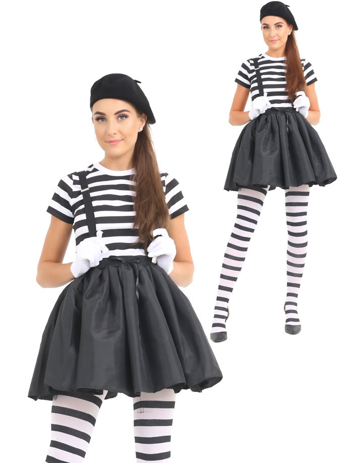 Ladies French Mime Artist Costume Women Circus Fancy Dress Outfit