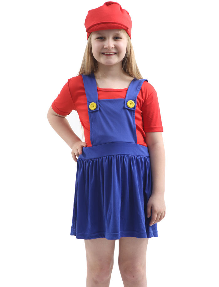 Girls Super Plumber Bro Costume Children Book week Fancy Dress Outfit
